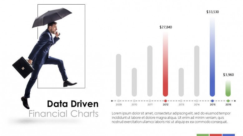 creative data driven financial vertical bar chart with picture