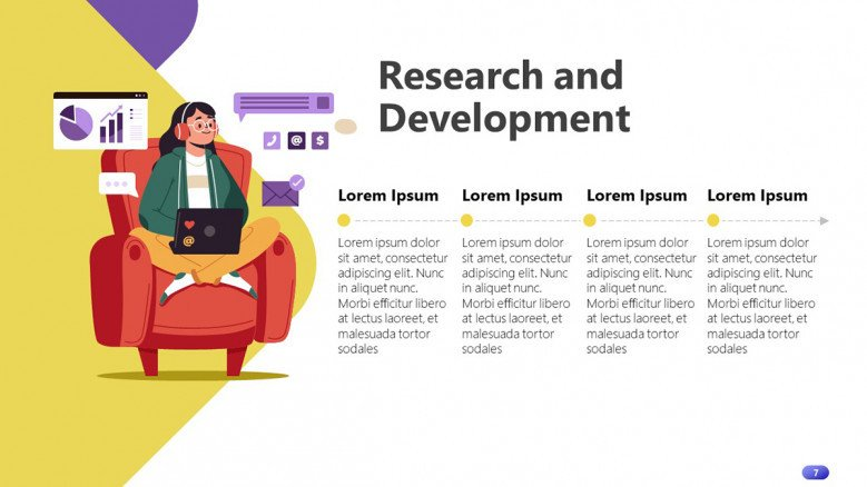 Horizontal Research and Development timeline in playful style