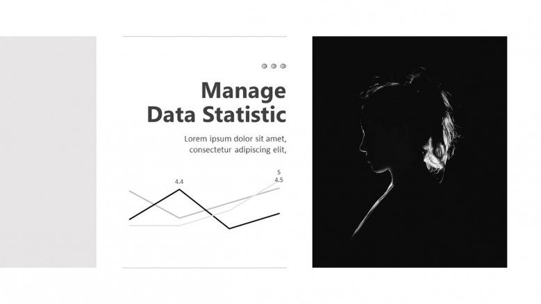 Simple line chart slide in black and white