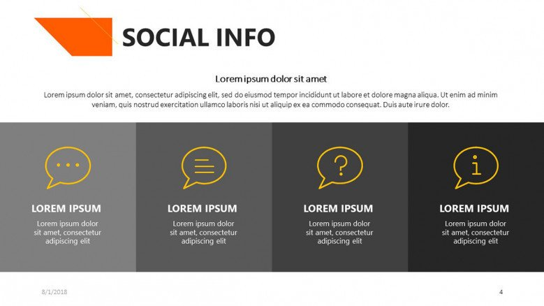 social info slide for academic presentation with icons