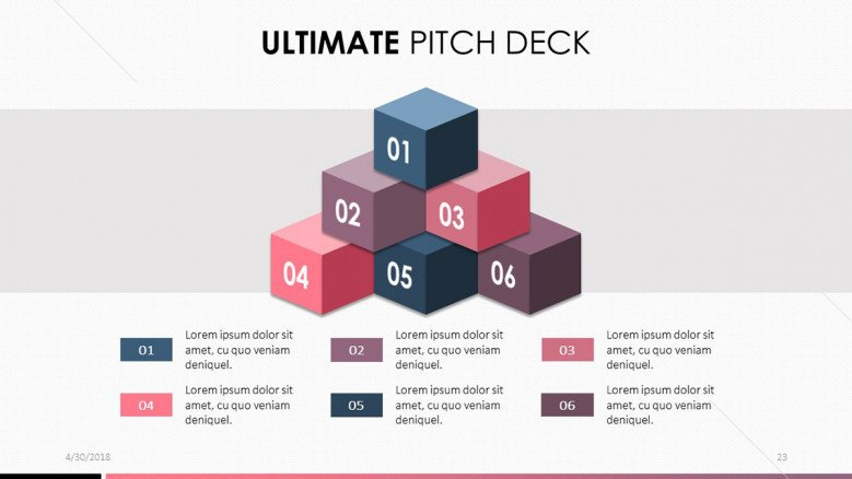 pitch deck in blocks chart with six key points