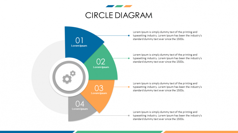 business presentation in circle diagrams with icons and text