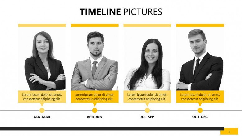 yearly timeline team profile with picture