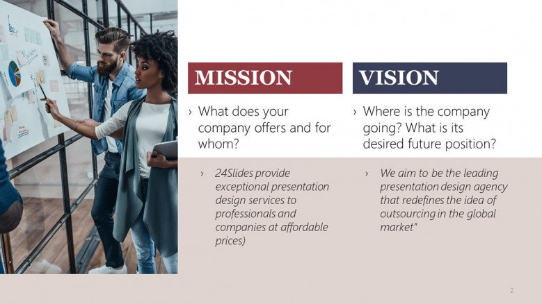 Company Mission and Vision Slide