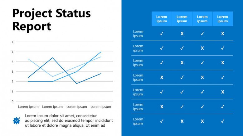 Project Status Report Slide with charts