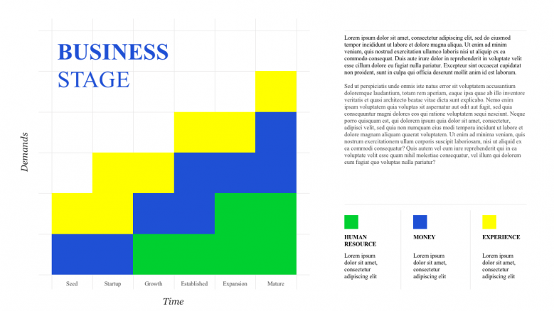 Colorful business stage slide with box graph
