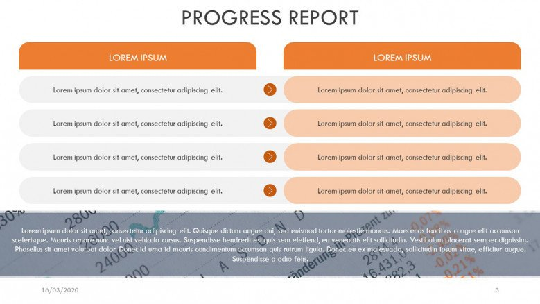Two-column Progress Report Slide
