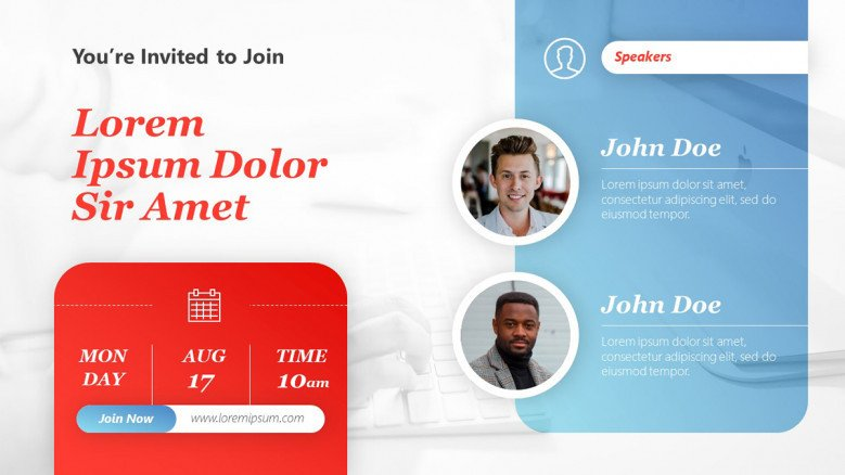Creative Webinar Invitation template with two speakers
