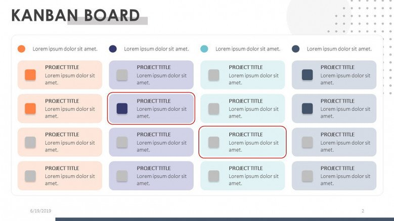 kanban board task backlog with color code and description texts