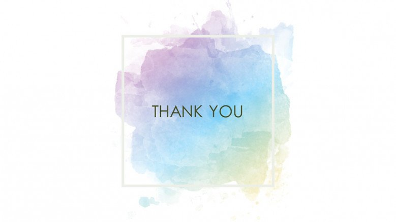 Thank you slide with watercolor background in creative style