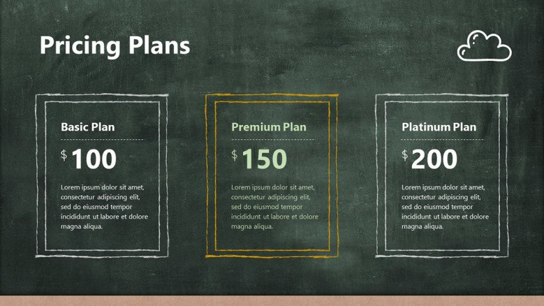 Pricing Plans Slide with three boxes