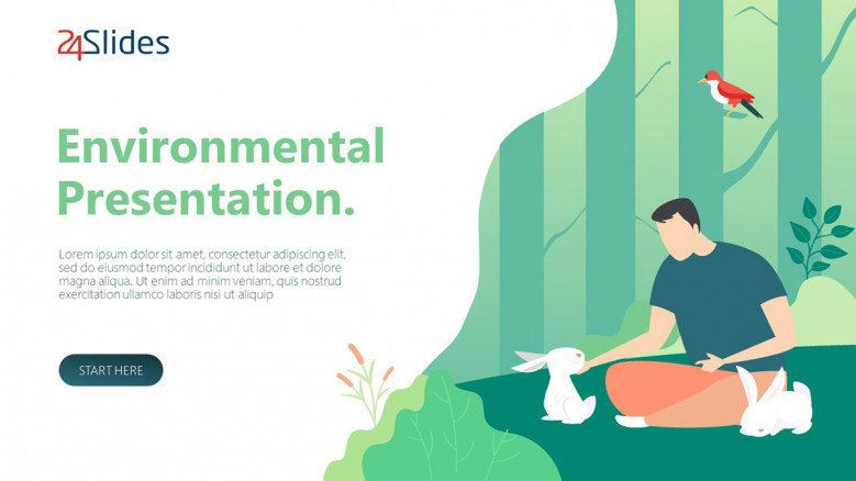 environmental presentation welcome slide in playful design with illustration