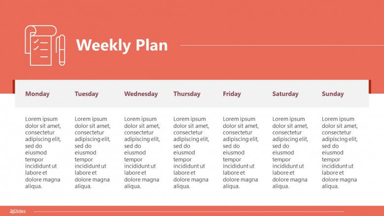 7-day weekly plan from Monday to Sunday