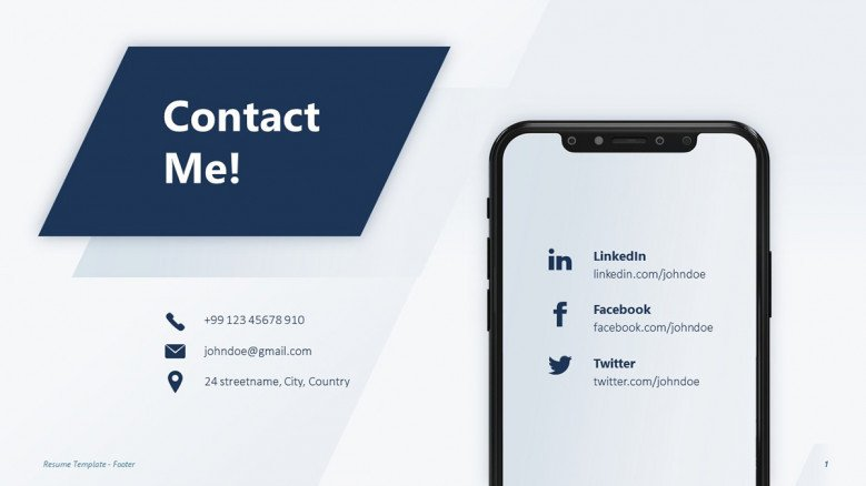 Contact information Slide for a creative resume presentation
