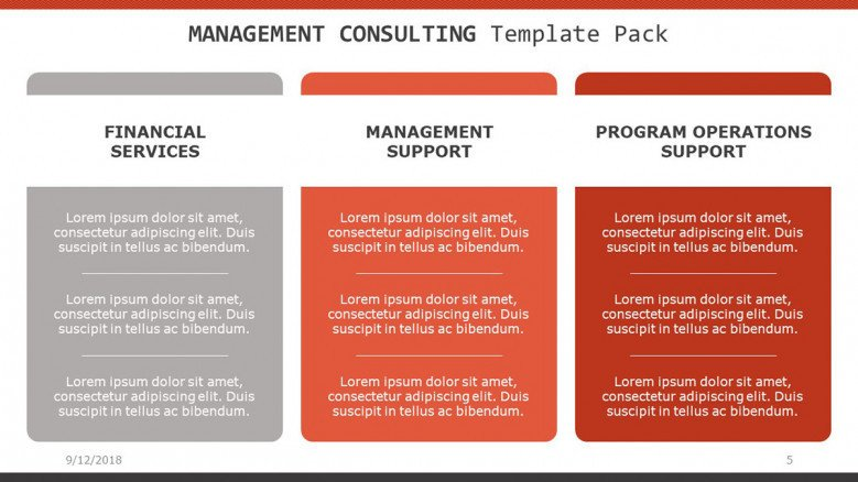 management consulting slide in three summarized text column