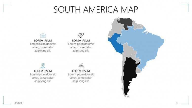 south america map with four key factors and icons and text