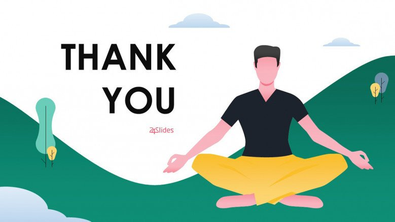 Yoga Thank You Slide with a playful male illustration
