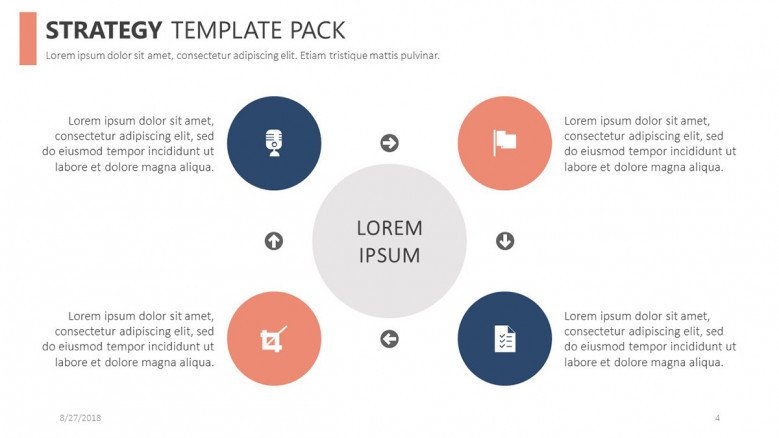 strategy template in four key points diagram with comment boxes