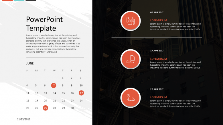 corporate presentation with calendar planning