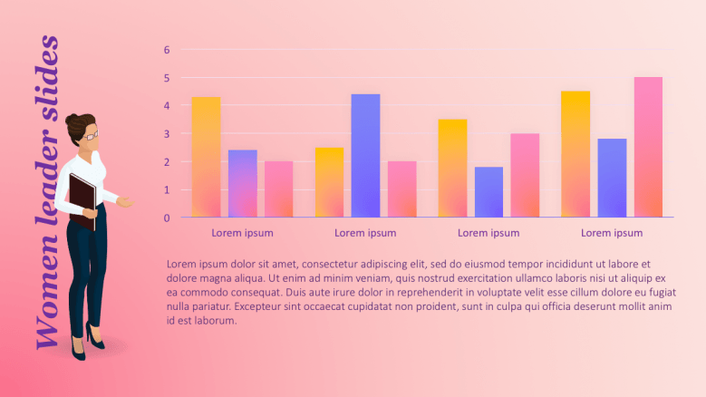 Woman illustration presenting graphs