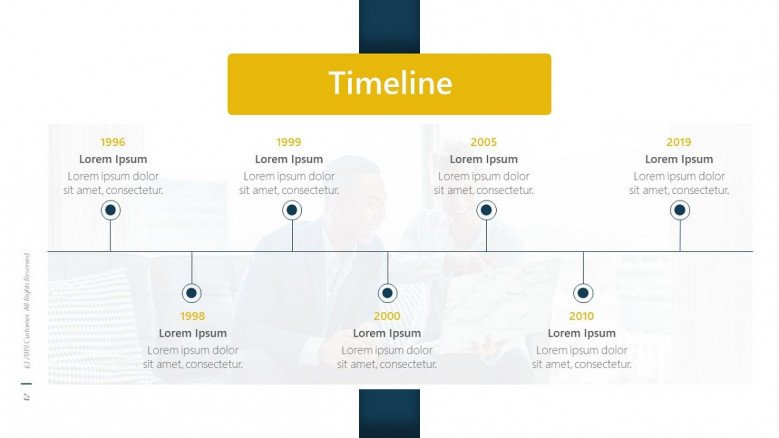 business timeline chart with text