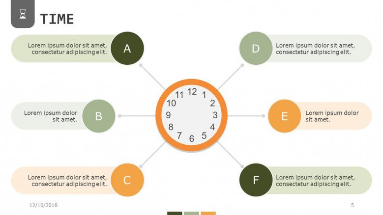 time presentation in process chart with six steps