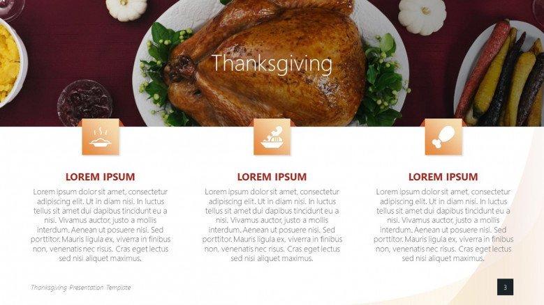 Steps for a Thanksgiving recipe with cooking icons