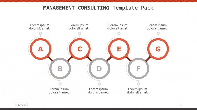 management consulting slide in process chart with circles