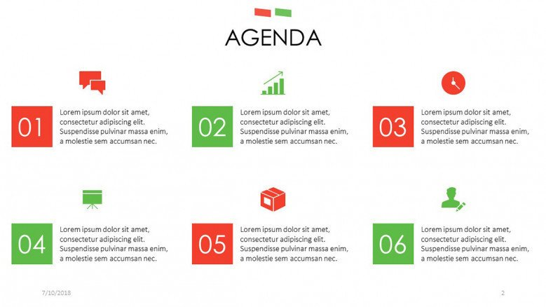 agenda slide with icons and description box