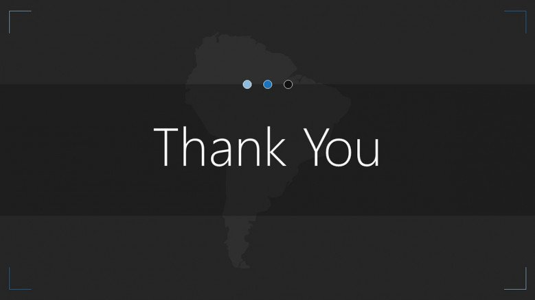 south america map thank you slide
