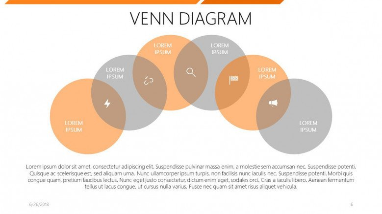 six set venn diagram with icons and text label