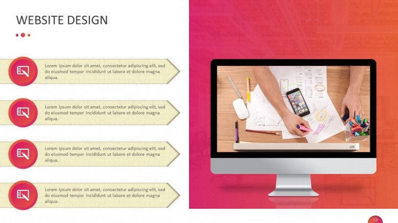 marketing website design in four key points with icons and iMac display