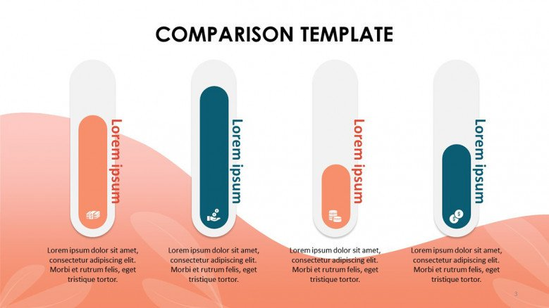 Four Colorful Comparison Bar charts with icons