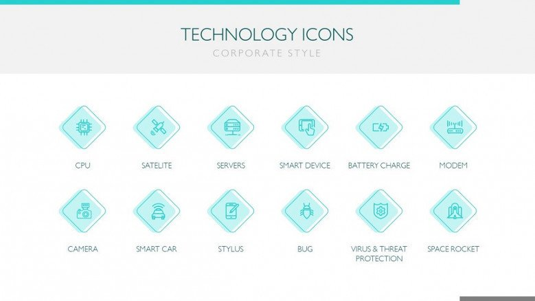 Technology icon template pack in corporate style