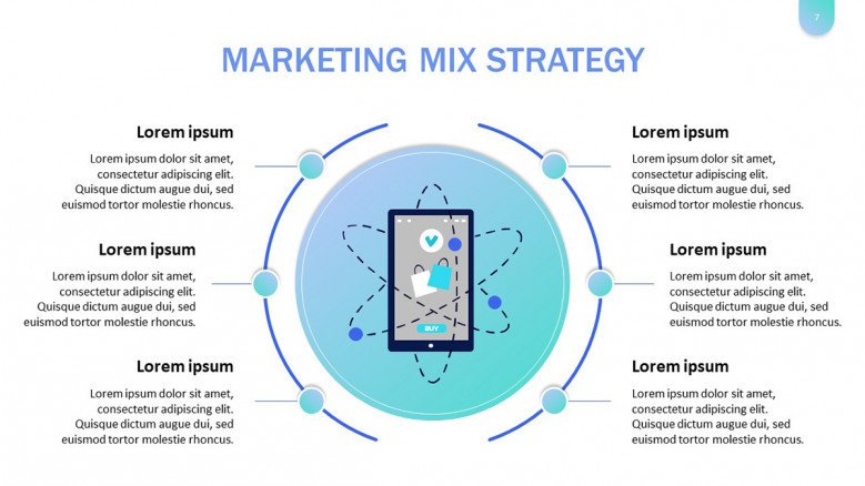 Marketing Mix Diagram Slide in playful style