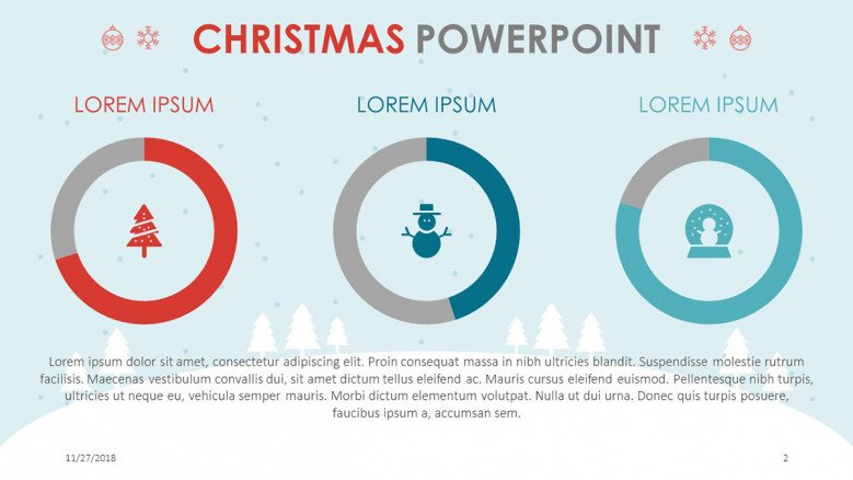 creative christmas theme slide with three circle chart