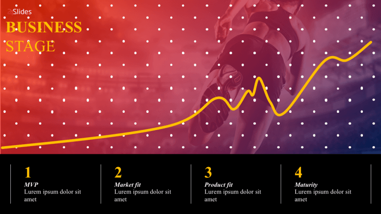Business stage slide with line graph and 4 text section