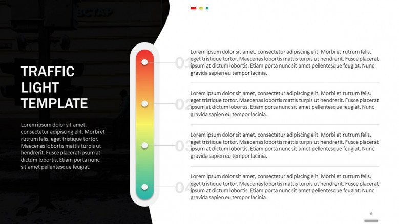 Creative color bar in red, green and yellow with text boxes
