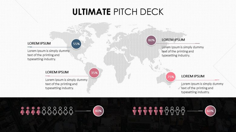 pitch deck in world map with highlighted regions