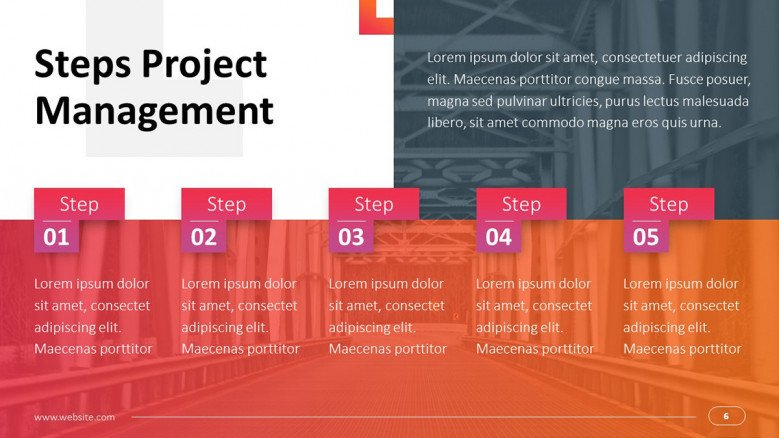 project management on technology infrastructure process chart with five key steps