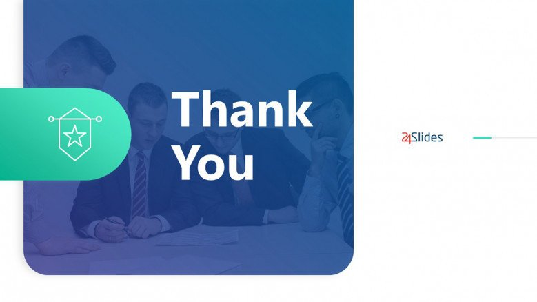 Modern Thank You PowerPoint Slide in blue