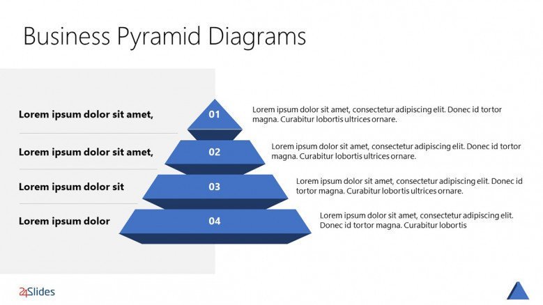 3D Pyramid Chart with four sections in corporate style