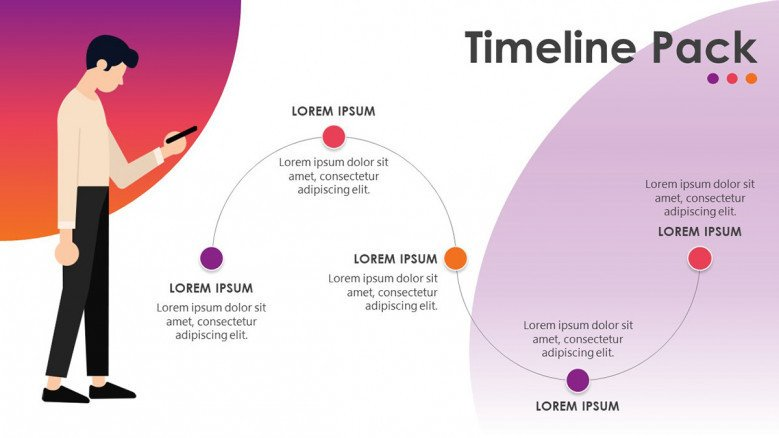 timeline in flowchart with five steps