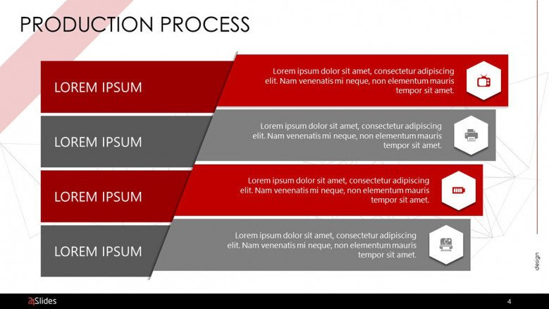 production process slide with four key factors in text and icon