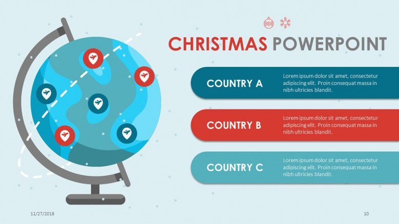 creative christmas theme slide of world globe and three key points