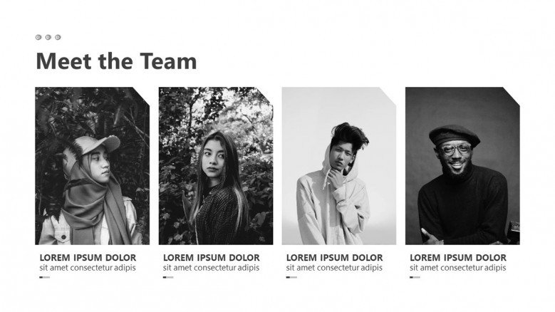 Meet the team slide for an Storyboard Agency Presentation