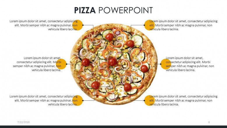 six-points text slide with pizza image in the center