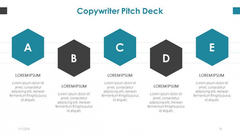 copy writer pitch deck slide with five key factors