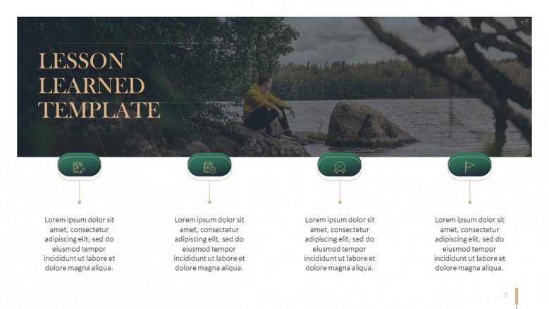 Four steps horizontal timeline with icons