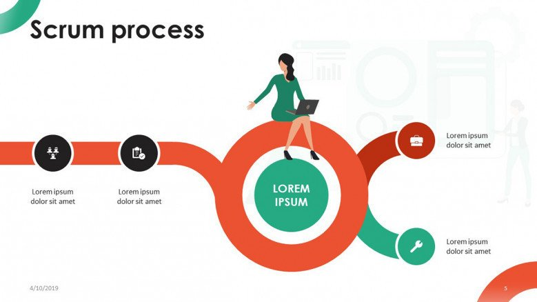 scrum process task flow chart with playful illustration